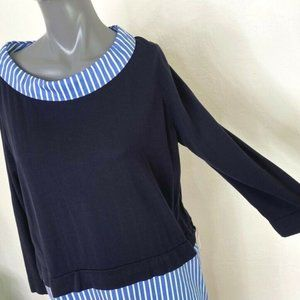 COS Layered Shift Dress Navy Blue Striped Pullover